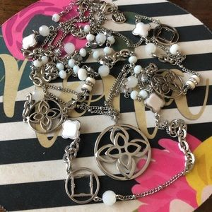 WHBM Silver/White Long Necklace